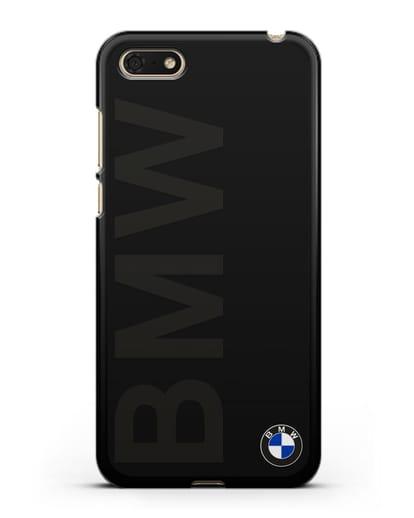 Чехол с надписью BMW и логотипом силикон черный для Huawei Y5 Prime 2018