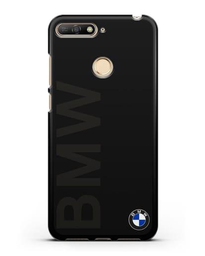 Чехол с надписью BMW и логотипом силикон черный для Huawei Y6 Prime 2018
