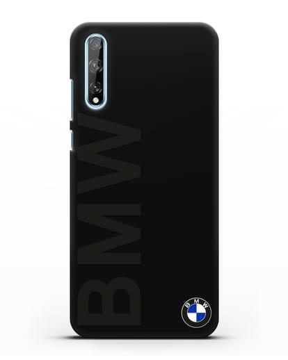 Чехол с надписью BMW и логотипом силикон черный для Huawei Y8P