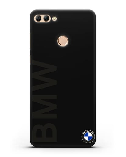 Чехол с надписью BMW и логотипом силикон черный для Huawei Y9 2018