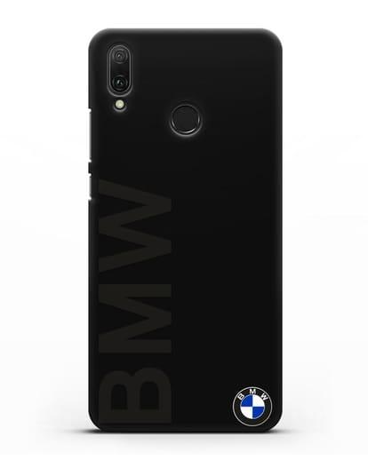 Чехол с надписью BMW и логотипом силикон черный для Huawei Y9 2019