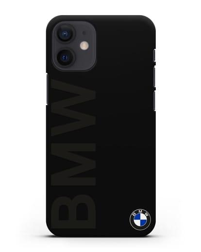 Чехол с надписью BMW и логотипом силикон черный для iPhone 12 mini