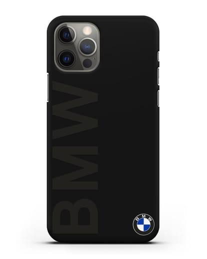 Чехол с надписью BMW и логотипом силикон черный для iPhone 12 Pro