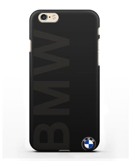 Чехол с надписью BMW и логотипом силикон черный для iPhone 6s