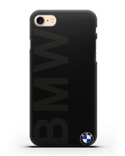 Чехол с надписью BMW и логотипом силикон черный для iPhone SE 2020
