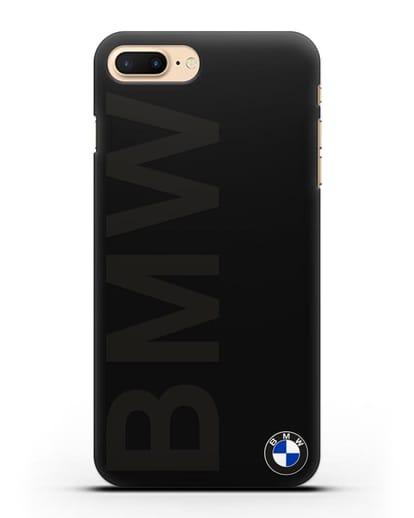 Чехол с надписью BMW и логотипом силикон черный для iPhone 8 Plus
