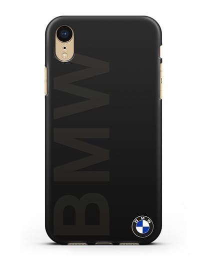 Чехол с надписью BMW и логотипом силикон черный для iPhone XR
