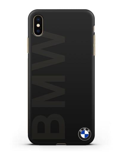 Чехол с надписью BMW и логотипом силикон черный для iPhone XS Max