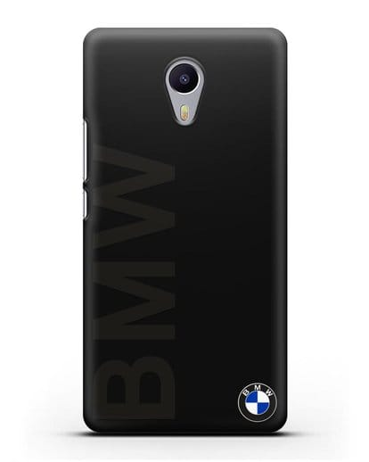 Чехол с надписью BMW и логотипом силикон черный для MEIZU M3 Note