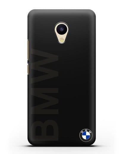 Чехол с надписью BMW и логотипом силикон черный для MEIZU M5