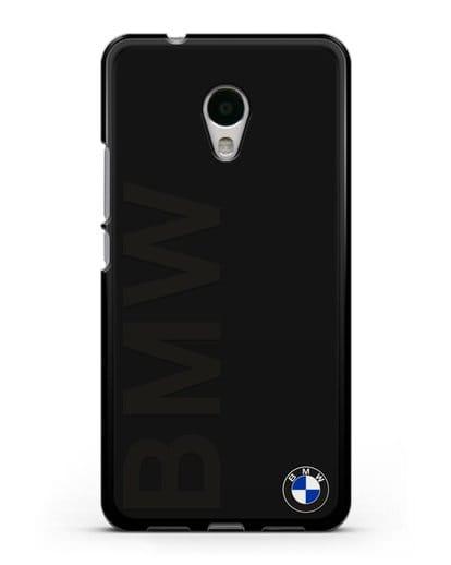 Чехол с надписью BMW и логотипом силикон черный для MEIZU M5s
