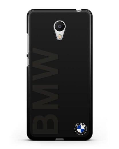 Чехол с надписью BMW и логотипом силикон черный для MEIZU M6