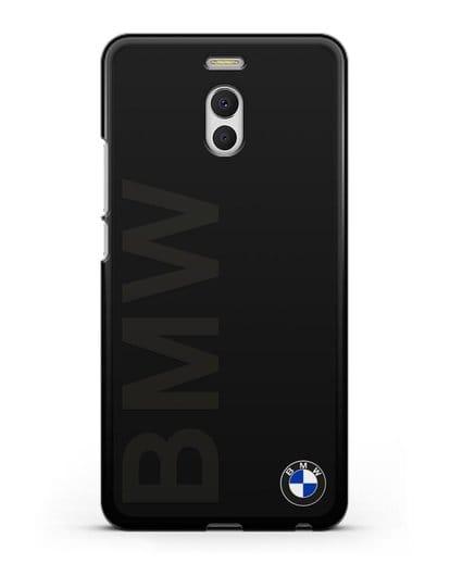 Чехол с надписью BMW и логотипом силикон черный для MEIZU M6 Note