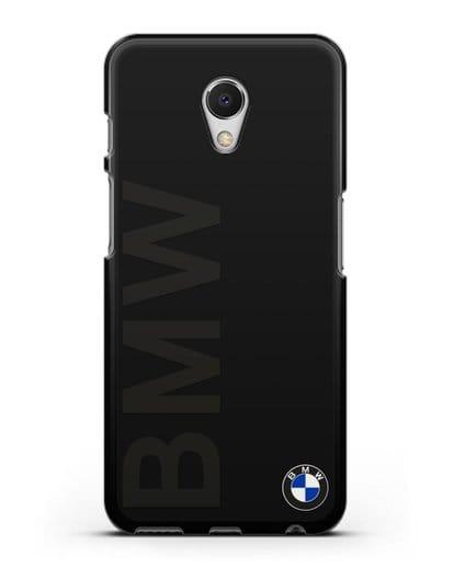 Чехол с надписью BMW и логотипом силикон черный для MEIZU M6s