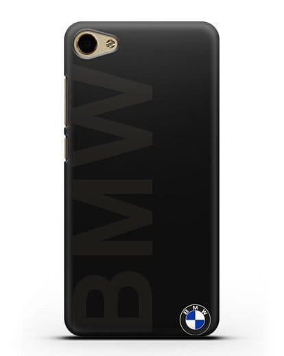 Чехол с надписью BMW и логотипом силикон черный для MEIZU U10