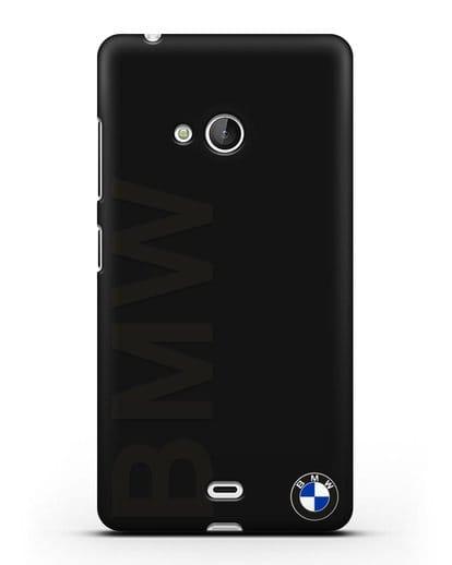 Чехол с надписью BMW и логотипом силикон черный для Microsoft Lumia 540