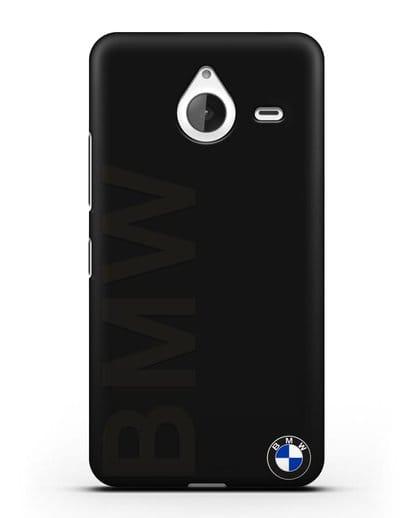 Чехол с надписью BMW и логотипом силикон черный для Microsoft Lumia 640 XL
