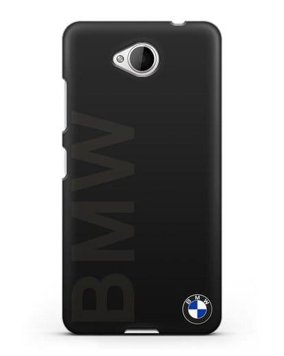 Чехол с надписью BMW и логотипом силикон черный для Microsoft Lumia 650