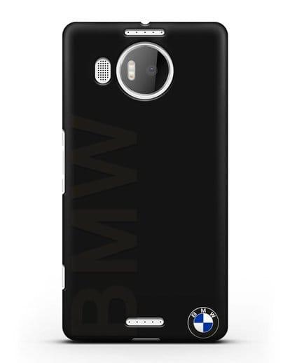Чехол с надписью BMW и логотипом силикон черный для Microsoft Lumia 950 XL