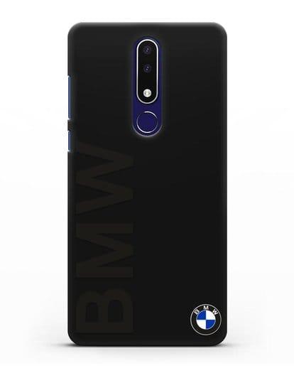 Чехол с надписью BMW и логотипом силикон черный для Nokia 3.1 plus