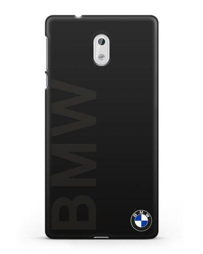 Чехол с надписью BMW и логотипом силикон черный для Nokia 3
