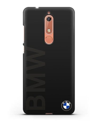 Чехол с надписью BMW и логотипом силикон черный для Nokia 5.1