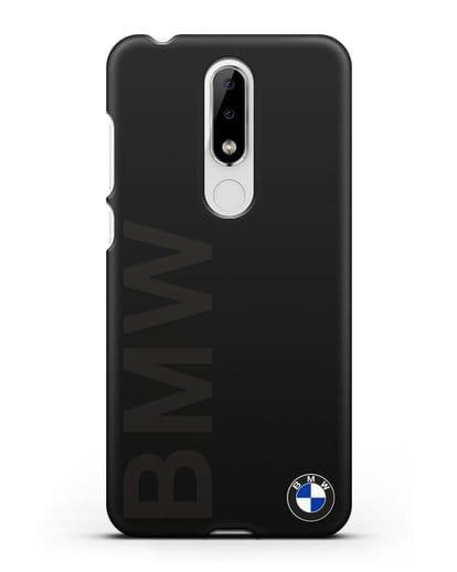 Чехол с надписью BMW и логотипом силикон черный для Nokia 5.1 plus