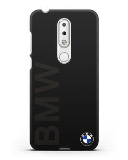 Чехол с надписью BMW и логотипом силикон черный для Nokia 6.1 plus