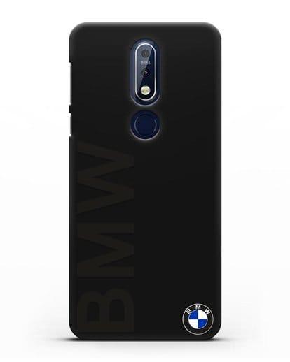 Чехол с надписью BMW и логотипом силикон черный для Nokia 7.1