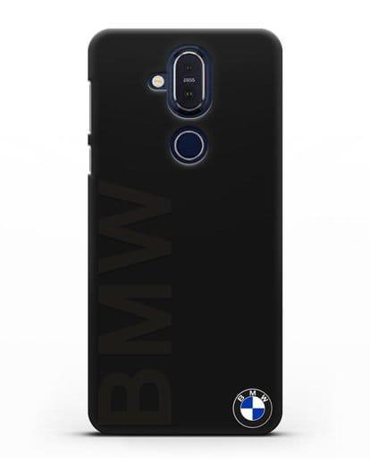 Чехол с надписью BMW и логотипом силикон черный для Nokia 7.1 plus