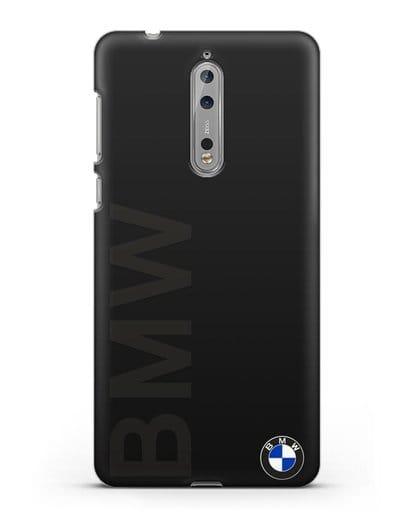 Чехол с надписью BMW и логотипом силикон черный для Nokia 8