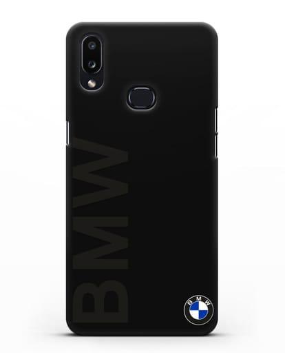 Чехол с надписью BMW и логотипом силикон черный для Samsung Galaxy A10s [SM-F107F]
