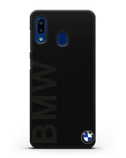 Чехол с надписью BMW и логотипом силикон черный для Samsung Galaxy A20 [SM-A205FN]
