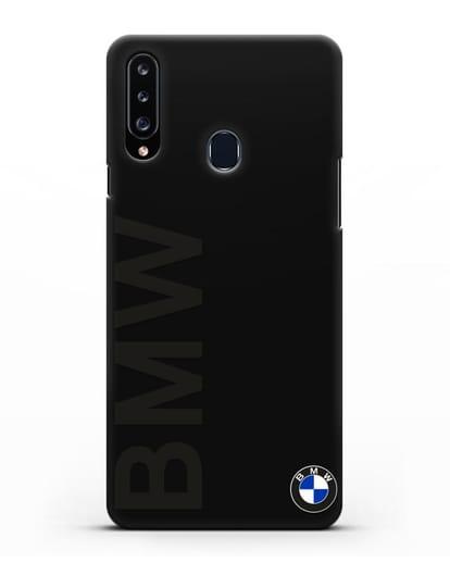 Чехол с надписью BMW и логотипом силикон черный для Samsung Galaxy A20s [SM-A207FN]