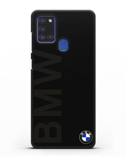 Чехол с надписью BMW и логотипом силикон черный для Samsung Galaxy A21s [SM-A217F]