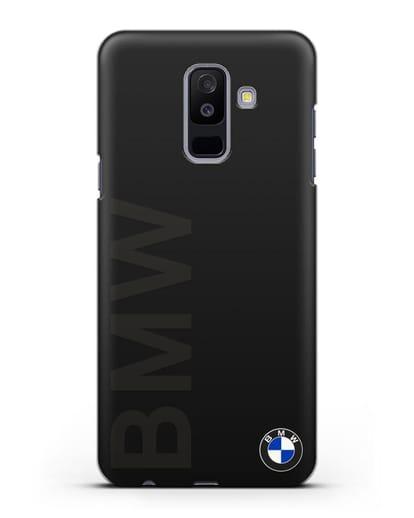Чехол с надписью BMW и логотипом силикон черный для Samsung Galaxy A6 Plus 2018 [SM-A605F]