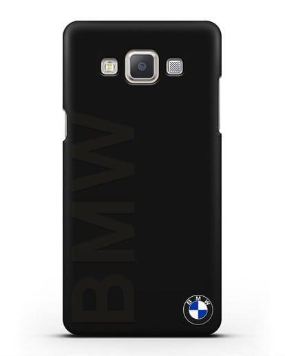 Чехол с надписью BMW и логотипом силикон черный для Samsung Galaxy A7 2015 [SM-A700F]