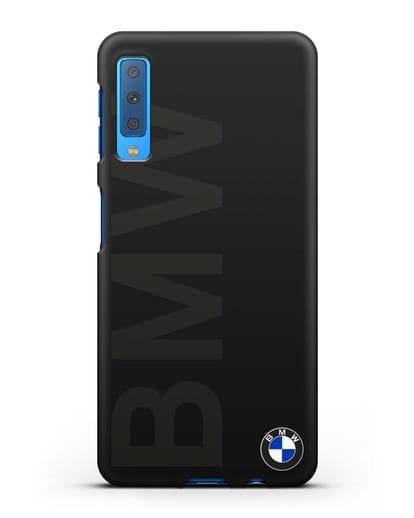 Чехол с надписью BMW и логотипом силикон черный для Samsung Galaxy A7 2018 [SM-A750F]