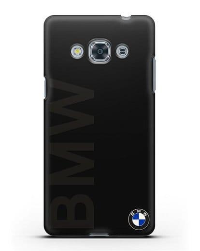 Чехол с надписью BMW и логотипом силикон черный для Samsung Galaxy J3 Pro [SM-J3110]