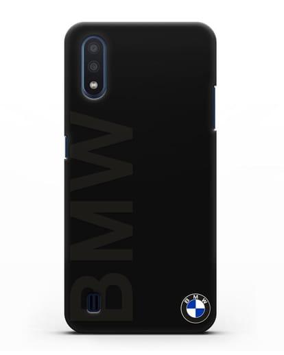 Чехол с надписью BMW и логотипом силикон черный для Samsung Galaxy M01 [SM-M015F]