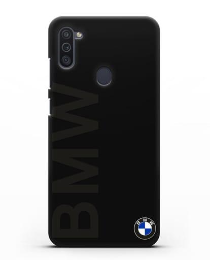 Чехол с надписью BMW и логотипом силикон черный для Samsung Galaxy M11 [SM-M115F]