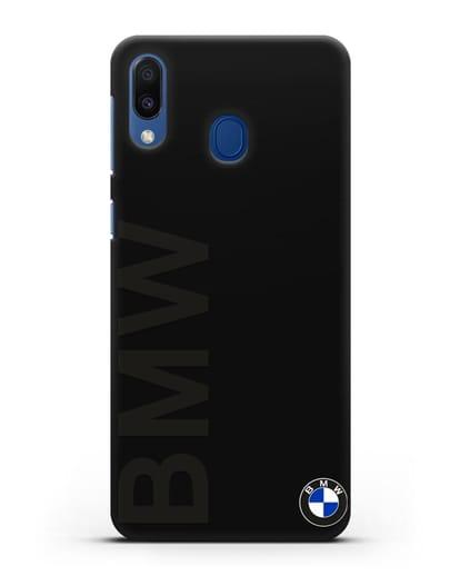 Чехол с надписью BMW и логотипом силикон черный для Samsung Galaxy M20 [SM-M205F]