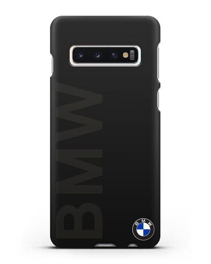 Чехол с надписью BMW и логотипом силикон черный для Samsung Galaxy S10 Plus [SM-G975F]