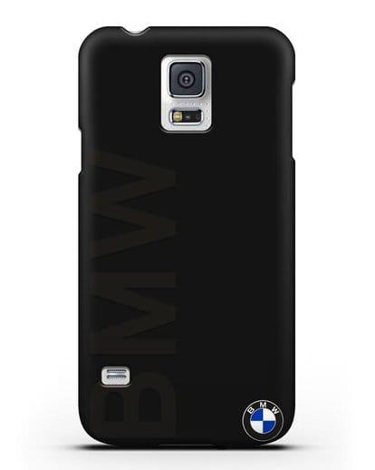 Чехол с надписью BMW и логотипом силикон черный для Samsung Galaxy S5 [SM-G900F]