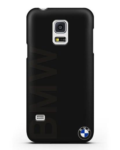 Чехол с надписью BMW и логотипом силикон черный для Samsung Galaxy S5 Mini [SM-G800F]