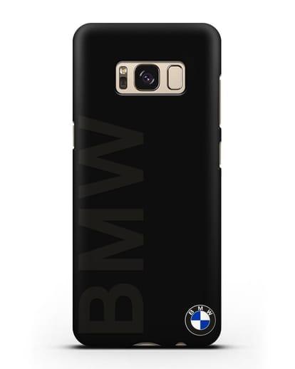Чехол с надписью BMW и логотипом силикон черный для Samsung Galaxy S8 [SM-950F]