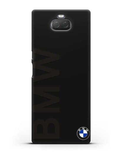 Чехол с надписью BMW и логотипом силикон черный для Sony Xperia 10 Plus