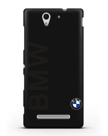 Чехол с надписью BMW и логотипом силикон черный для Sony Xperia C3