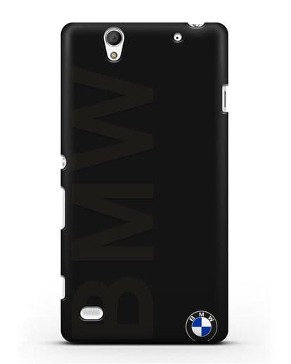 Чехол с надписью BMW и логотипом силикон черный для Sony Xperia C4