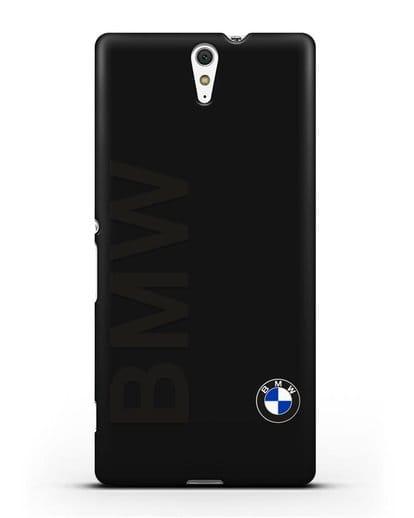 Чехол с надписью BMW и логотипом силикон черный для Sony Xperia C5